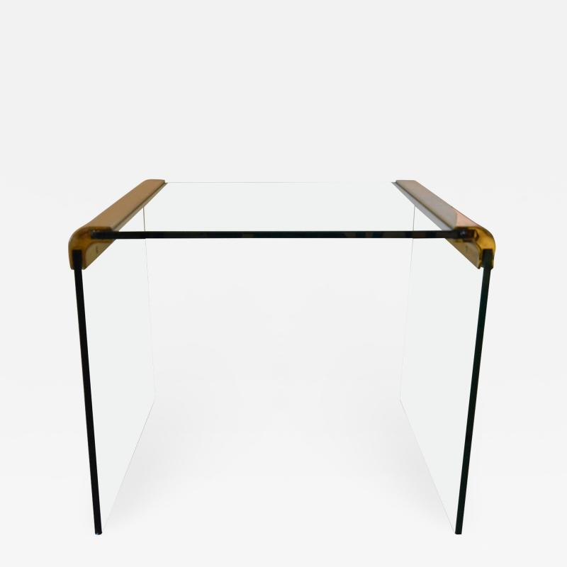 Pace Collection Mid Century Modern Pace Brass and Glass Waterfall End Side Table