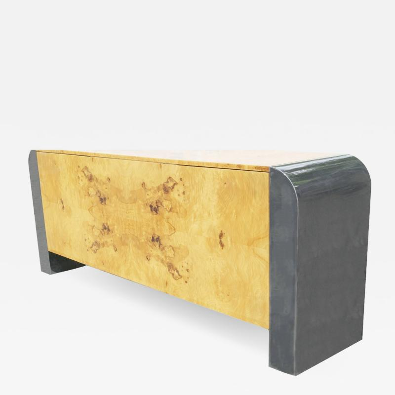 Pace Collection Pace Collection Burl Wood Credenza or Sideboard Steel Waterfall