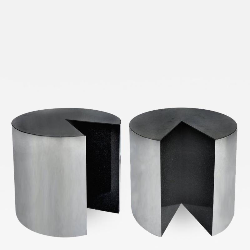 Pace Collection Pace Collection Stainless Steel and Granite Side Tables Pair