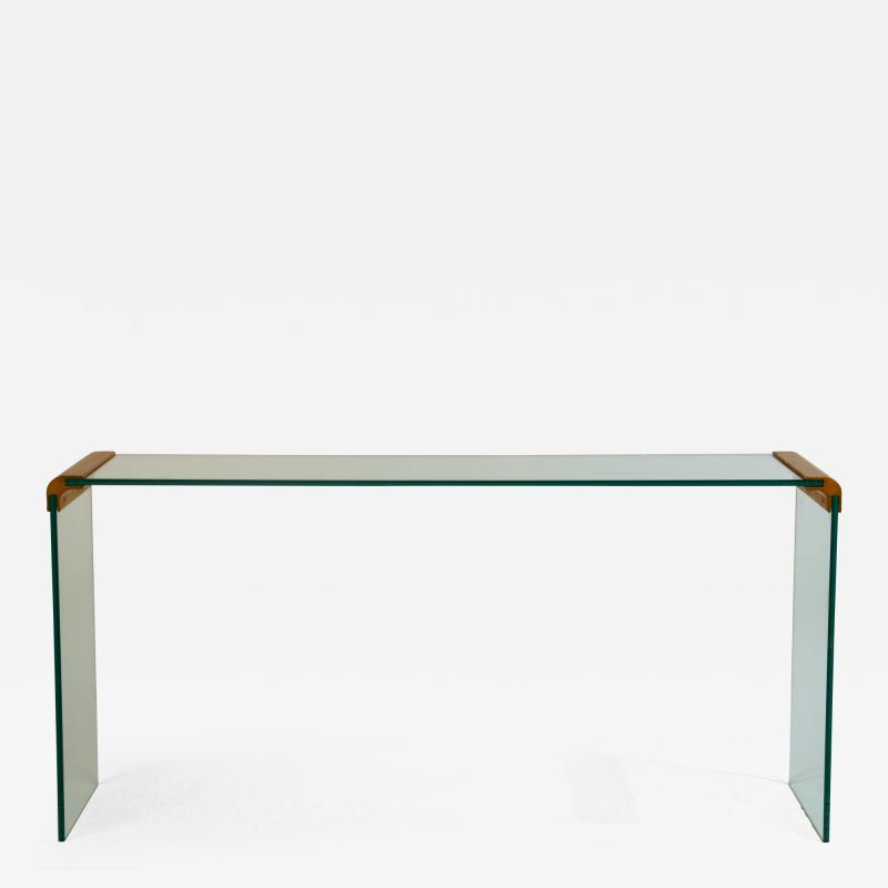 Pace Collection Slender Glass and Gilt Bronze Waterfall Console by Leon Rosen for Pace