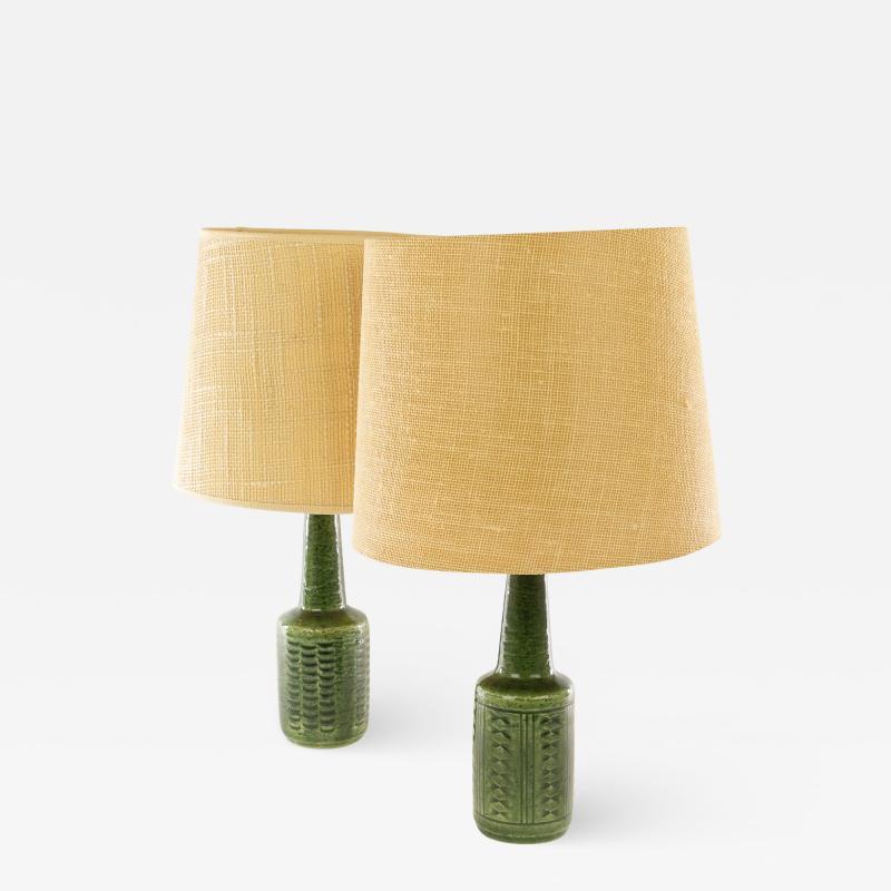Palshus Pair of Moss green DL 21 table lamps by Linnemann Schmidt for Palshus 1960s