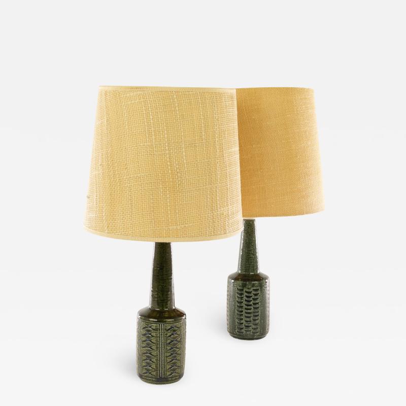 Palshus Pair of green DL 21 table lamps by Linnemann Schmidt for Palshus 1960s