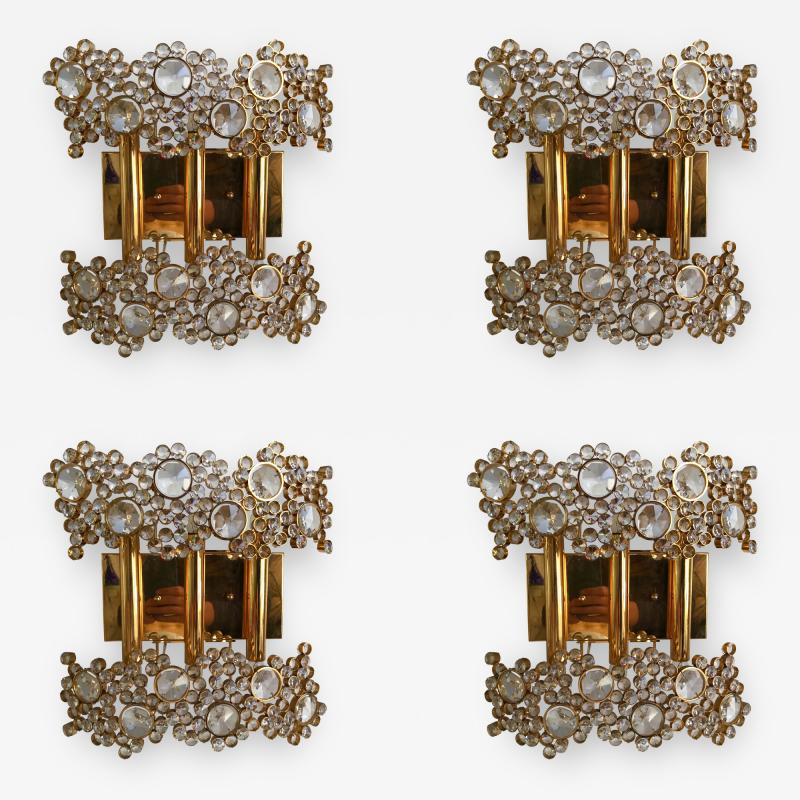 Palwa 2 Pair of Brass and Crystal Glass Sconces by Palwa Germany 1970s