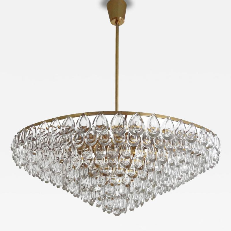Palwa Brass and Glass Chandelier by Palwa