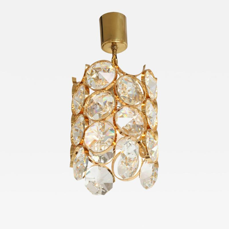 Palwa Ernest Palme Faceted Crystal and Gilt Brass Pendant