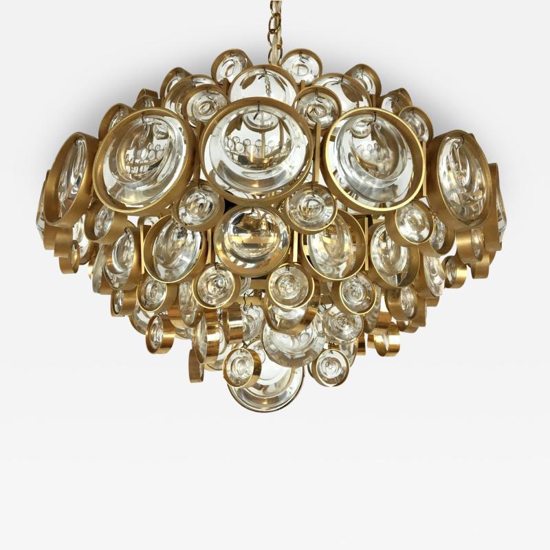 Palwa Gilt Brass and Glass Fixture by Palwa