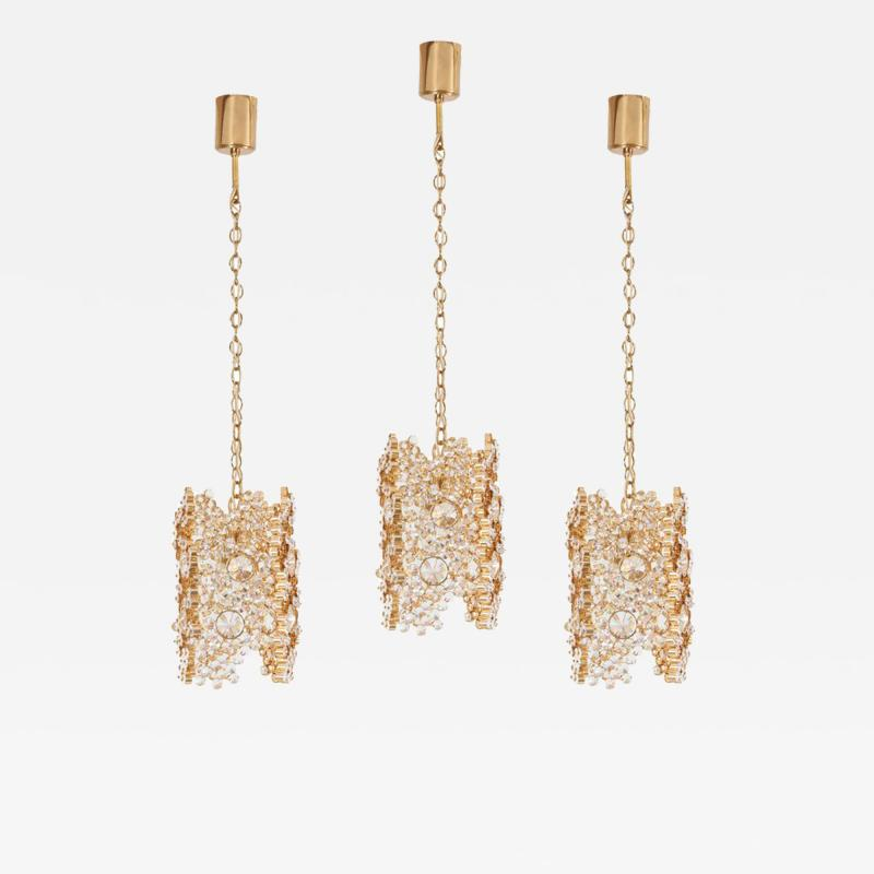 Palwa One of Three Palwa Gilded Brass and Crystal Glass Encrusted Pendant Lamps
