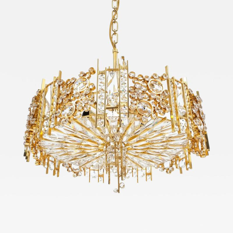 Palwa Pair of Gilt Brass and Crystal Glass Encrusted Chandelier
