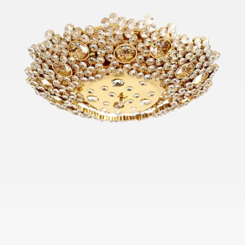 Palwa Palme Walter flush mount in crystal and gilded brass circa 1960
