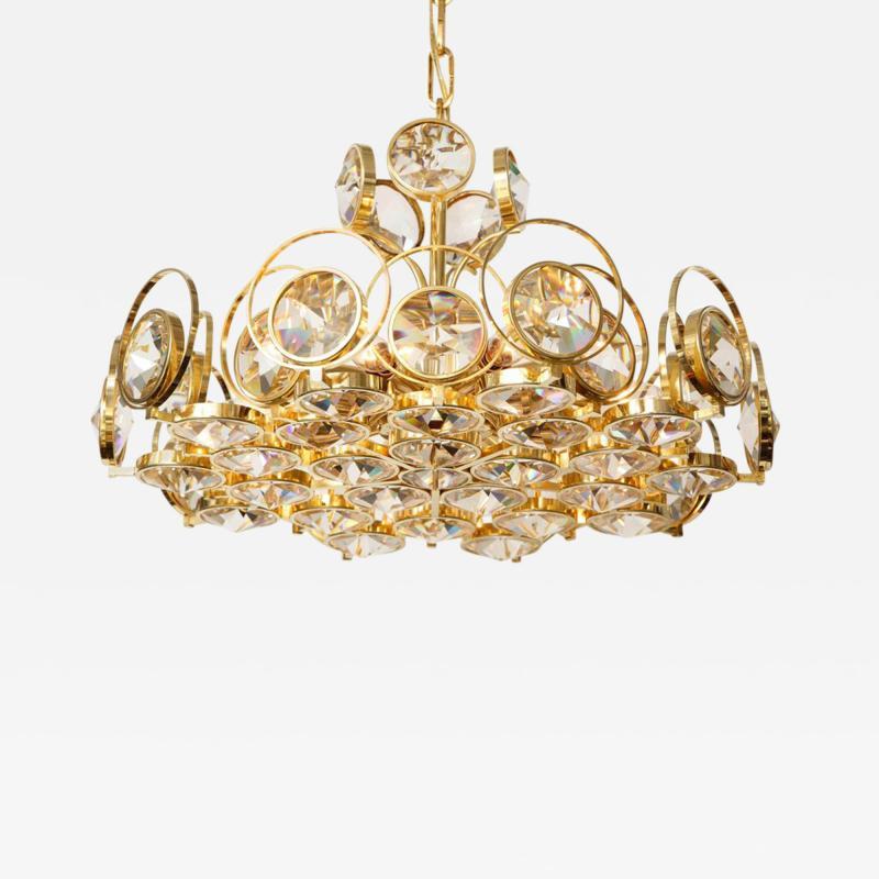 Palwa Palwa Gilt Brass and Crystal Chandelier