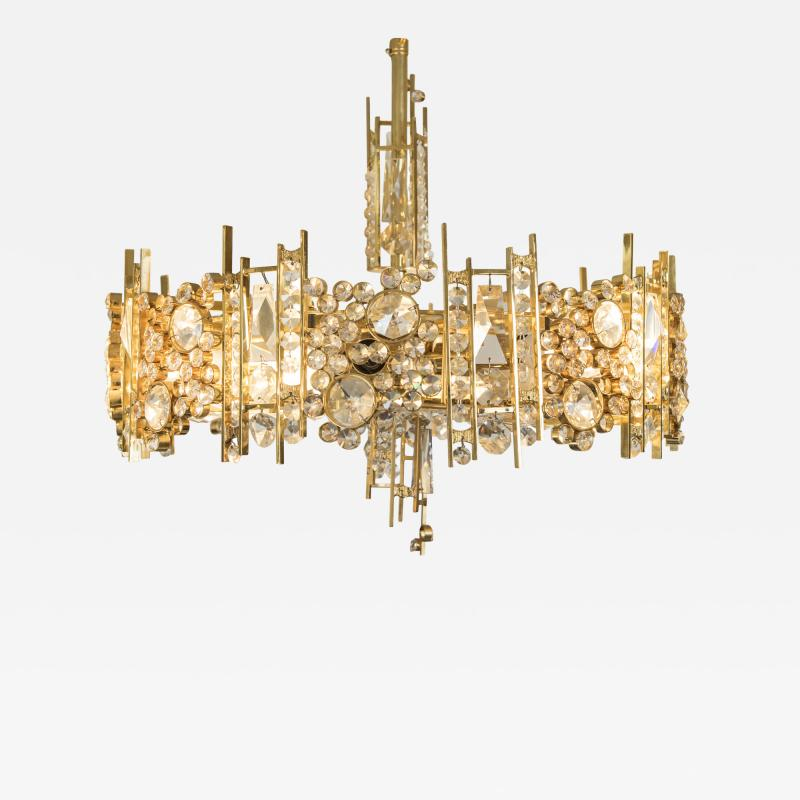 Palwa Palwa Gold Plated Brutalist Pendant With Austrian Crystal Circa 1969