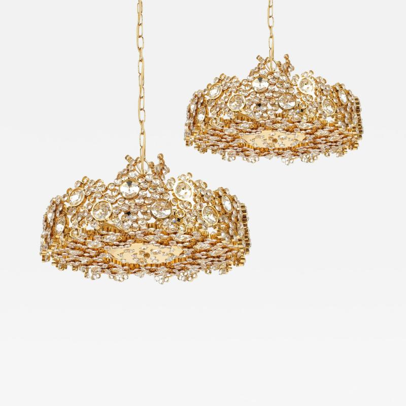 Palwa Set of 3 Gilt Brass Crystal Glass Encrusted Chandeliers By Palwa