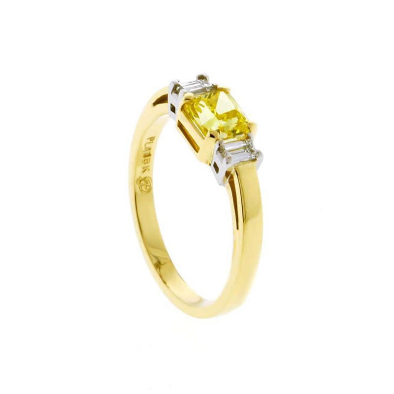 Pampillonia 74 Carat Vivid Yellow Internally Flawless Diamond Three Stone Ring