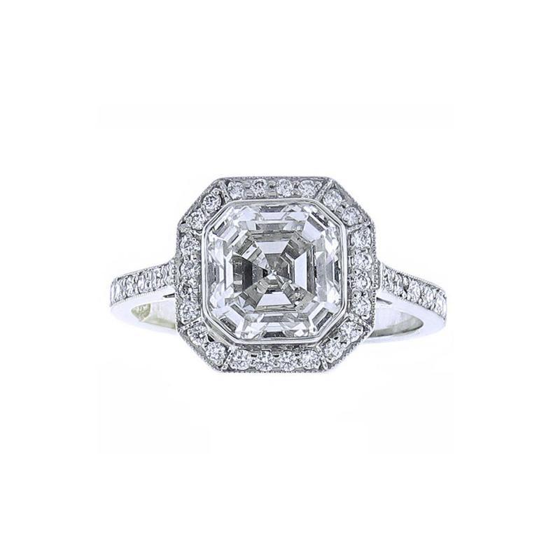 Pampillonia Asscher Cut Diamond Ring