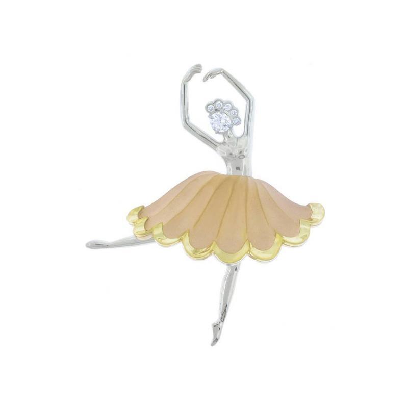Pampillonia Ballerina Dancer Diamond Gold Brooch