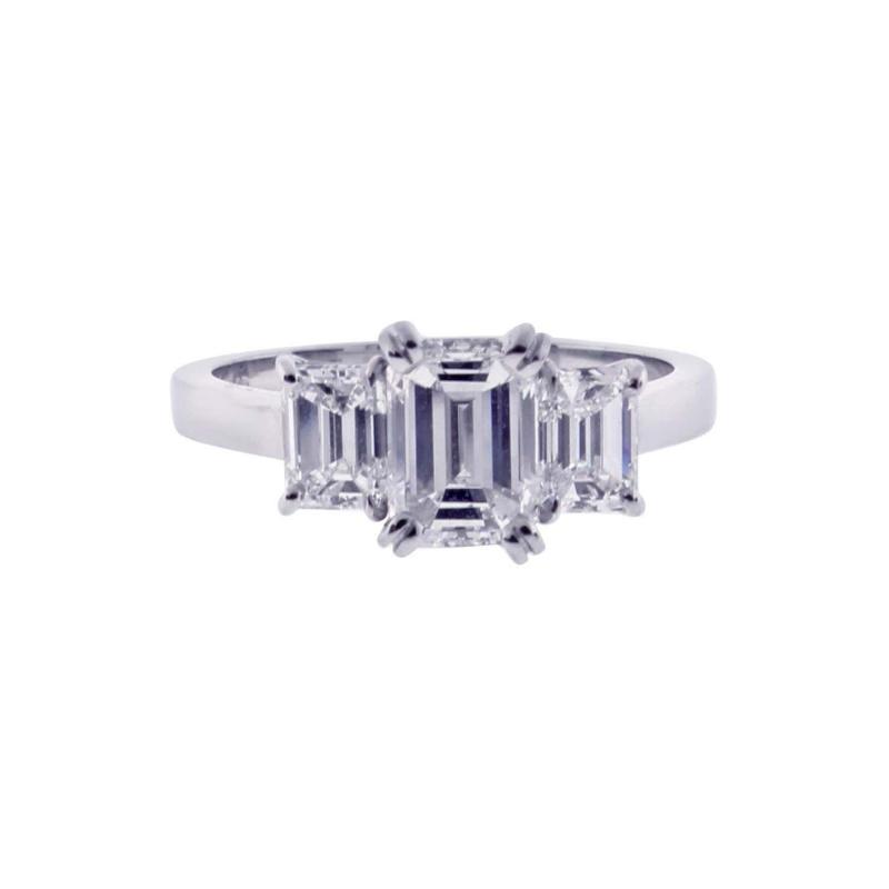 Pampillonia Emerald Cut Diamond Three Stone Ring
