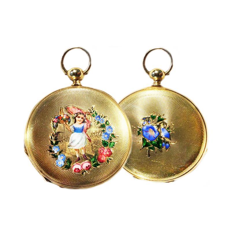 Patek Philippe Co 1830s Patek Hunting Case Enamel Flower Girl Motif 18 Karat YG Pocket Watch