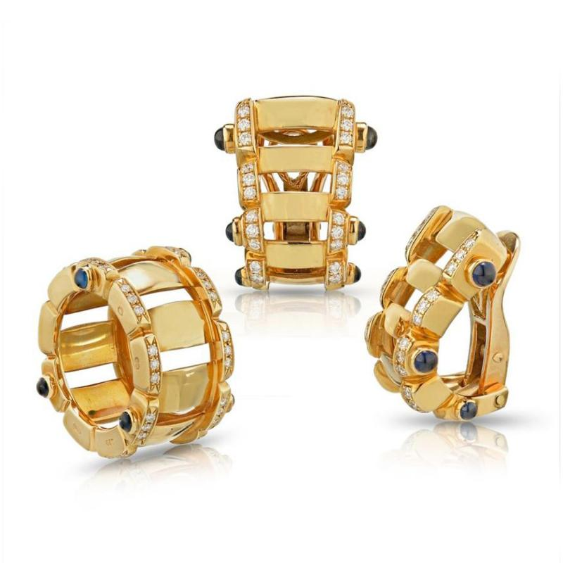 Patek Philippe Co PATEK PHILIPPE 18K YELLOW GOLD SAPPHIRE DIAMOND RING AND EARRINGS JEWELRY SET