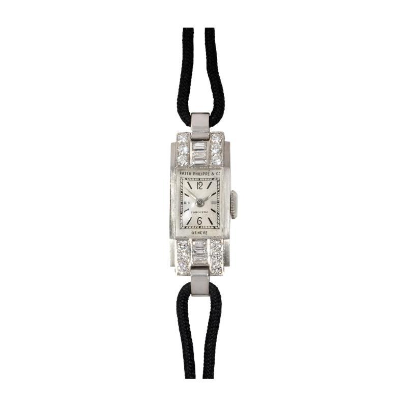 Patek Philippe Co Patek Philippe Art Deco Diamond and Platinum Watch with Cord Band