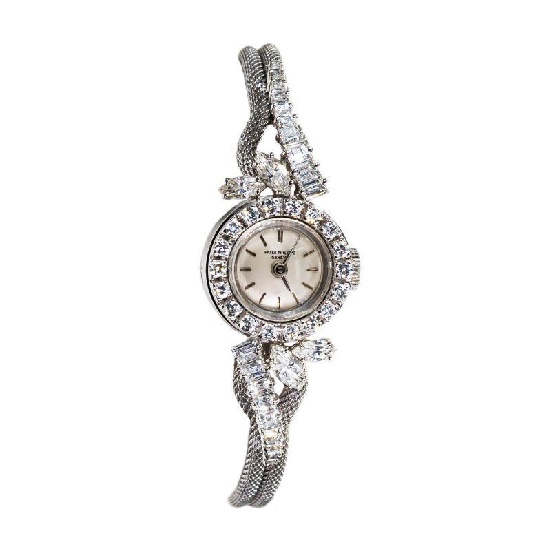 Patek Philippe Co Rare 1950s 1960s Patek Philippe Platinum Triple Diamond Twist Motif Bracelet