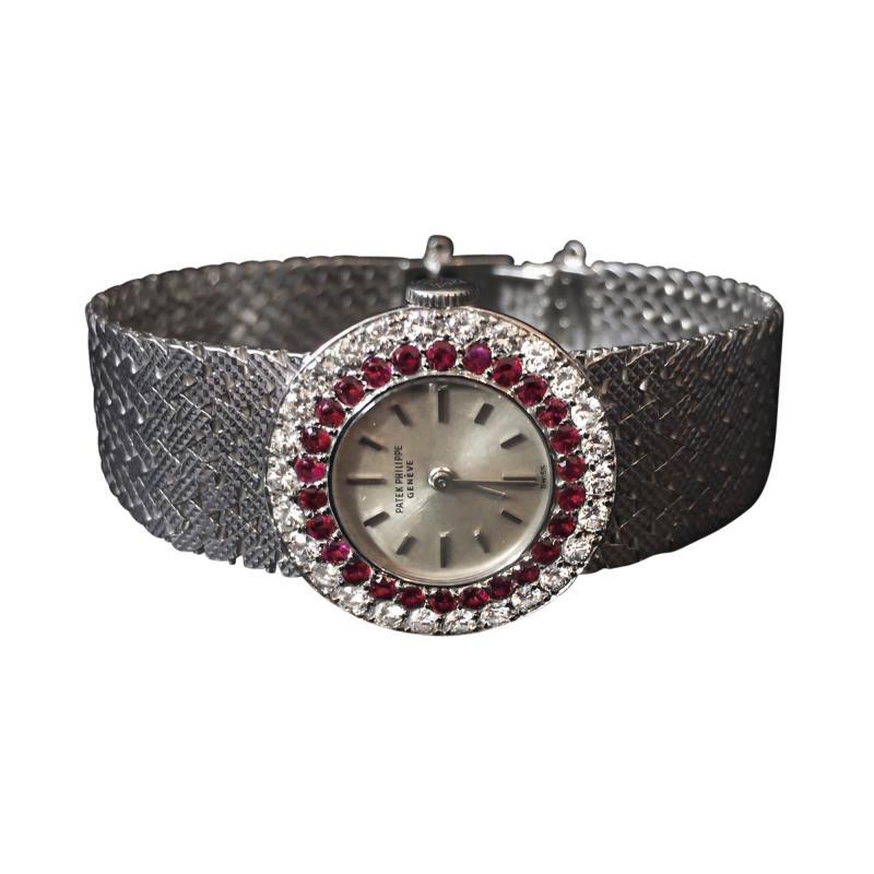Patek Philippe Co Rare Patek Philippe 18kt White Gold Ruby Diamond Factory Set Wristwatch