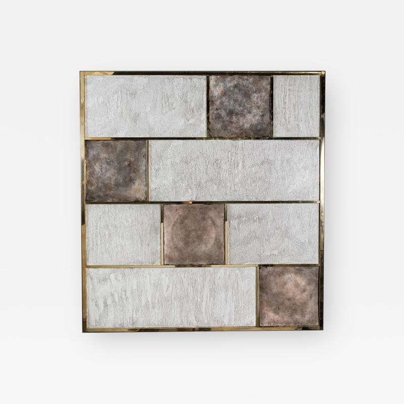Paul Marra Design Art Wall Panel with Mixed Materials and Textured Finish by Paul Marra
