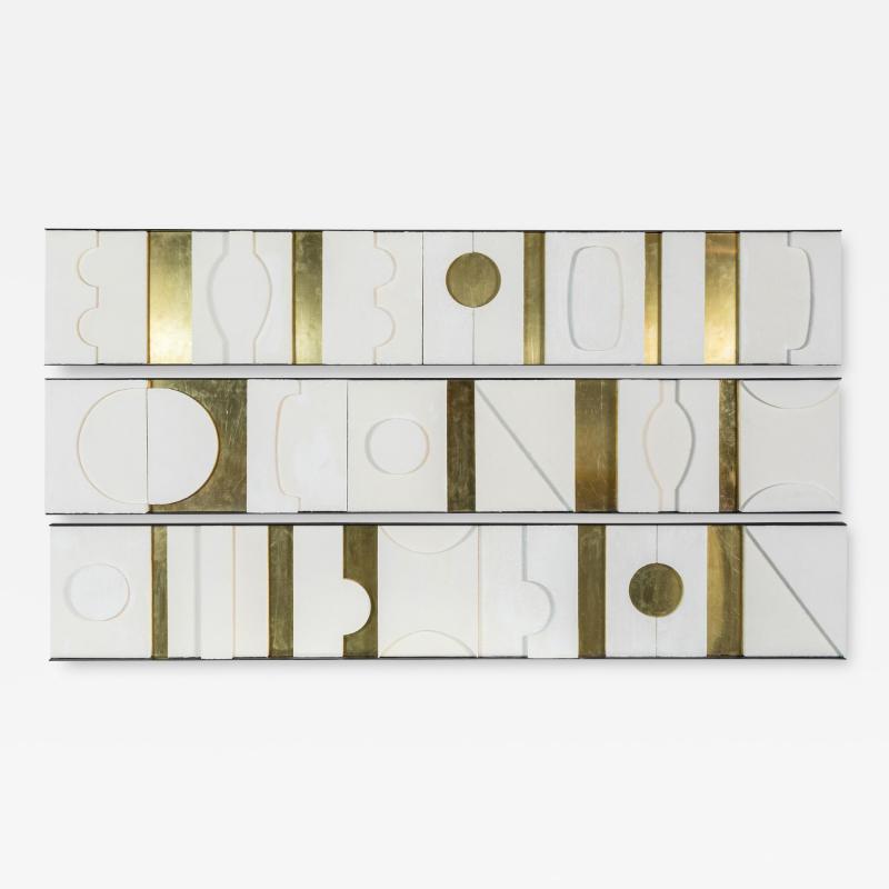 Paul Marra Design Art Wall Sculpture Modernist Frieze Panels Triptych by Paul Marra
