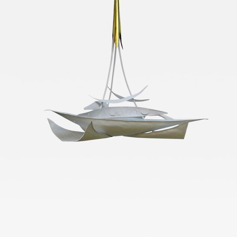 Paul Marra Design Brutalist White Chandelier by Paul Marra