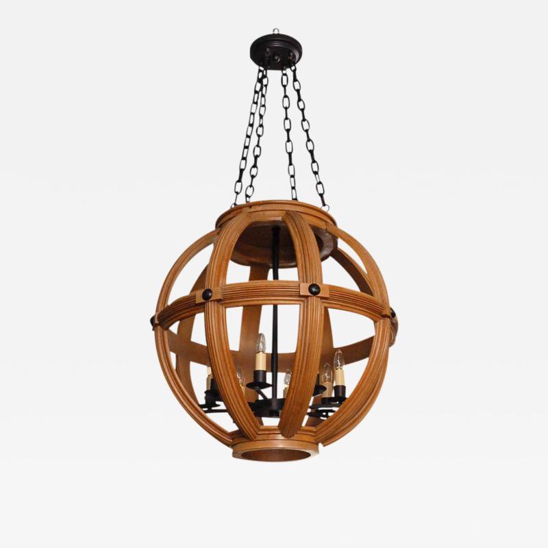 Paul Marra Design Large Carved Oak Sphere Chandelier with Ribbed Detail