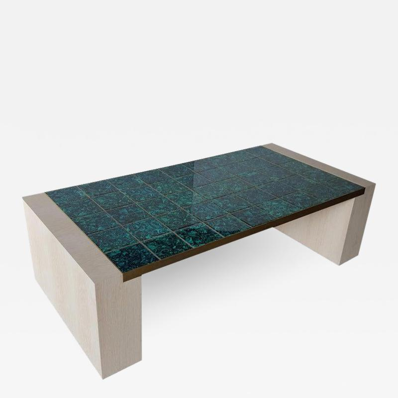 Paul Marra Design Oak and Malachite Cocktail Table by Paul Marra