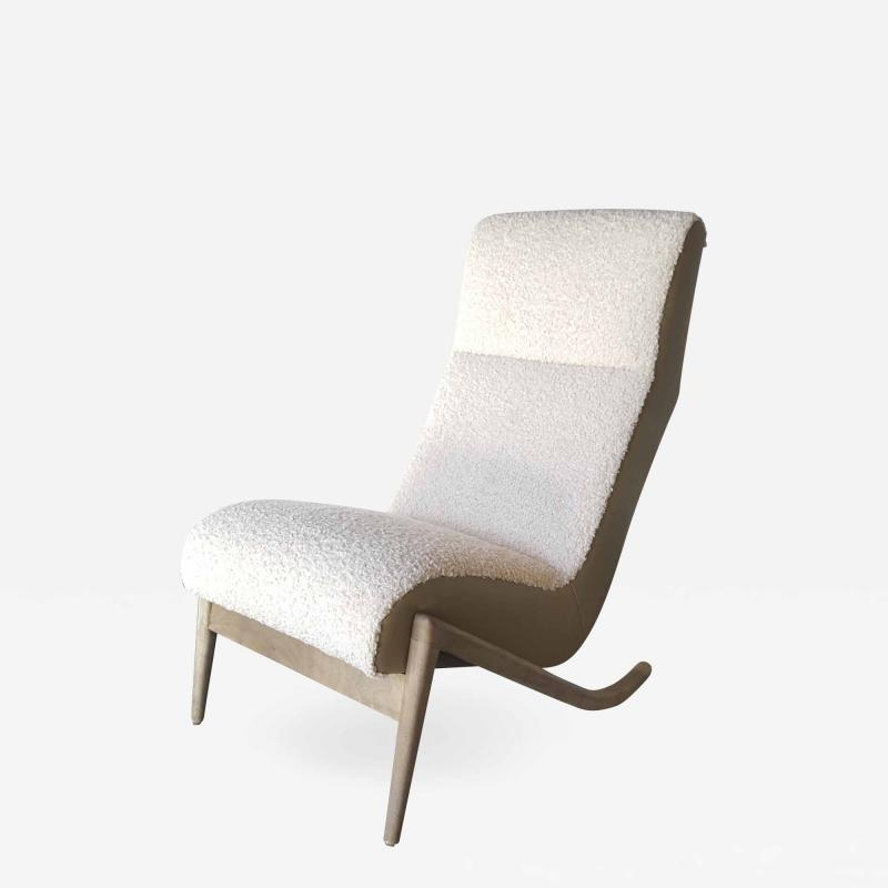 Paul Marra Design Slipper Chair Shown with Leather Faux Shearling by Paul Marra