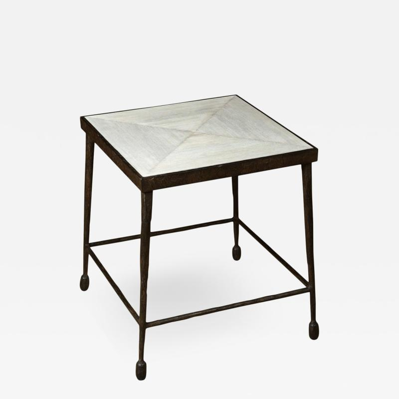 Paul Marra Design Textured Iron and Wood Coffee Table