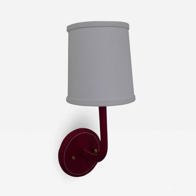 Paul Marra Design Top Stitched Leather Wrapped Sconce in Red by Paul Marra