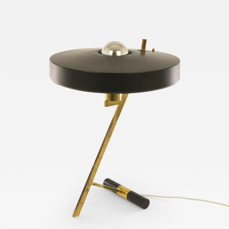 Philips Model Z table lamp in black and brass by Louis Kalff for Philips 1950s