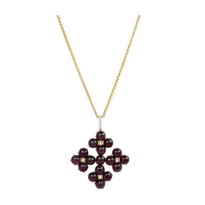 Phillips Brothers Victorian Gold Garnet and Diamond Maltese Cross Pendant Phillips London