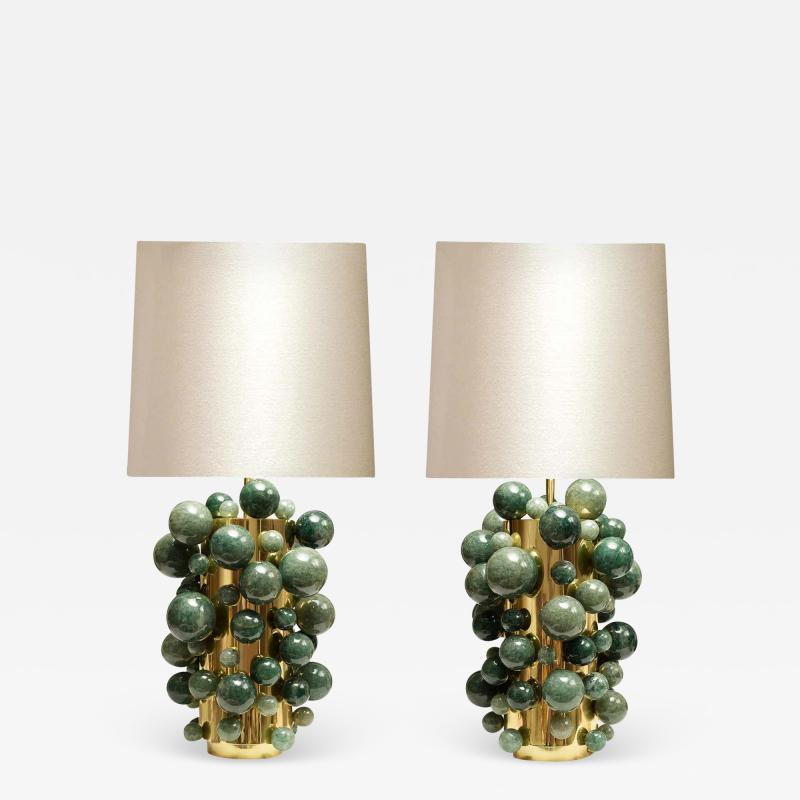 Phoenix Gallery Green Rock Crystal Bubble Lamps by Phoenix