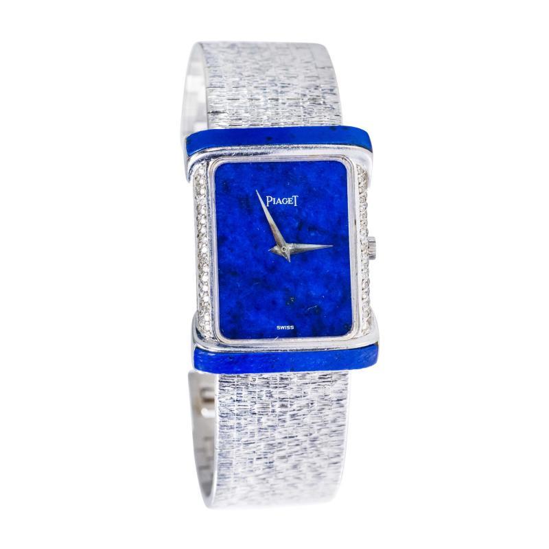 Piaget Piaget Lapis Large 1970s 18 Karat White Gold Diamond Bracelet Watch