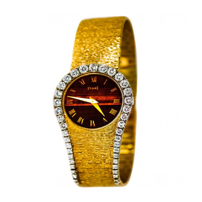 Piaget Rare 1970s Piaget Tiger Eye Diamond Set Limelight Yellow Gold Bracelet Watch