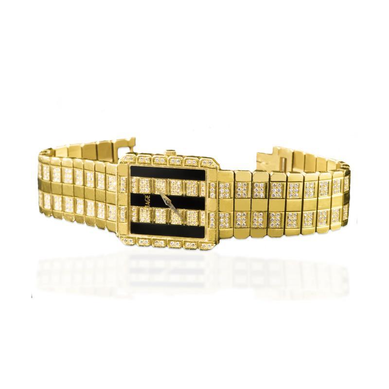 Piaget Rare Massive Piaget 18kt Onyx Diamond Set Tuxedo Dial Factory Wristwatch