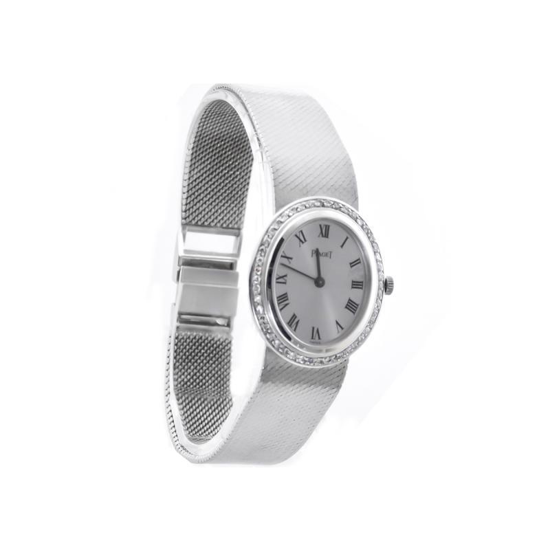 Piaget Rare Piaget 1970s Factory Diamond Set 18 KT White Gold WristWatch