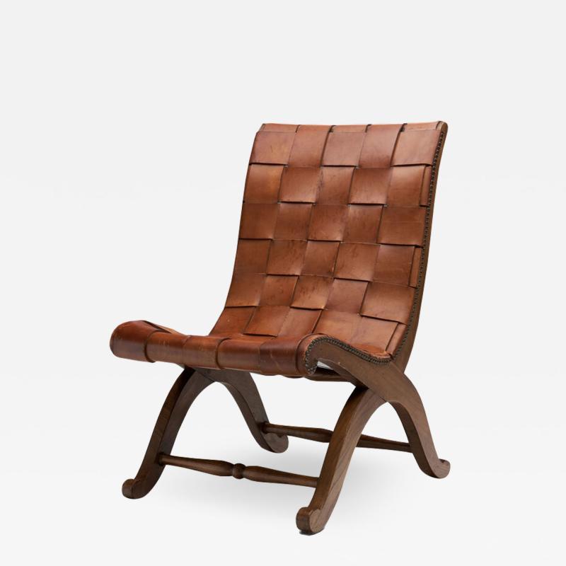 Pierre Lottier Mid Century Spanish Valenti Leather Chair by Pierre Lottier Spain 1950s