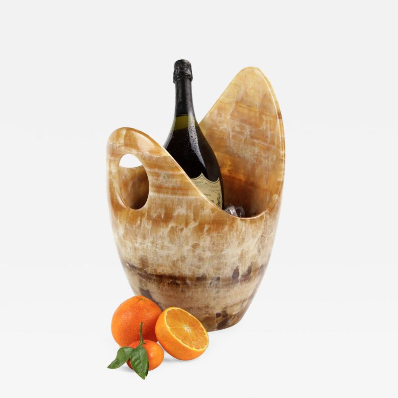 Pieruga Marble Champagne bucket ice bucket sculpture vase in Amber onyx hand carved in Italy