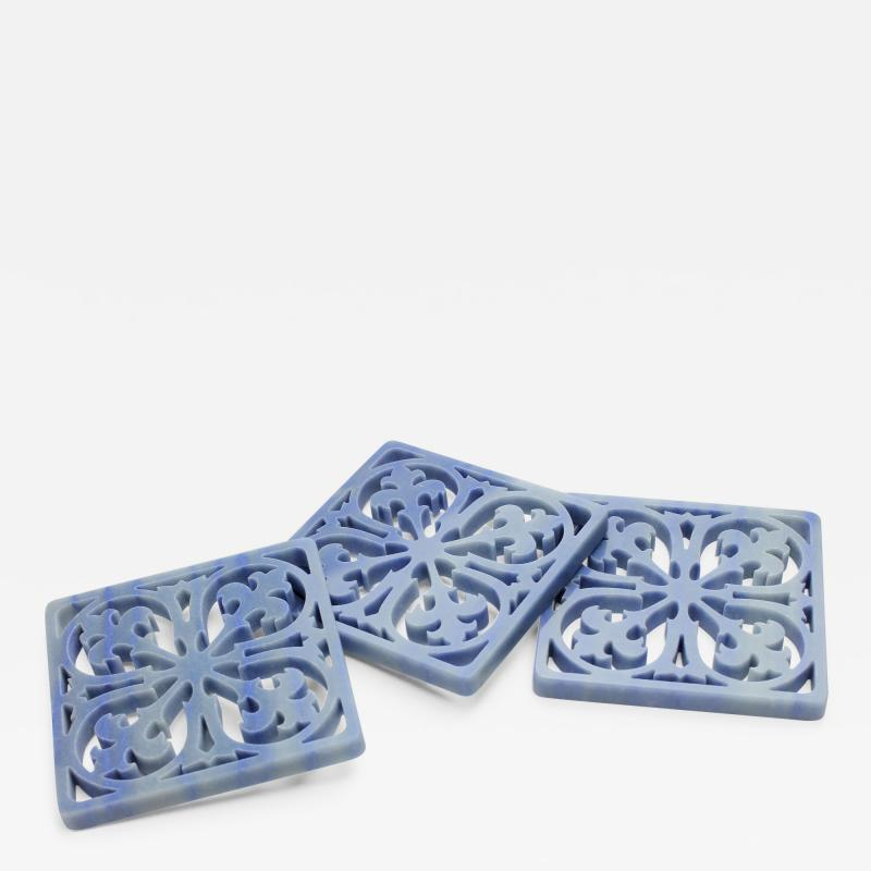 Pieruga Marble Coaster hand curved from block of Azul Macaubas by Pieruga Marble Made in Italy