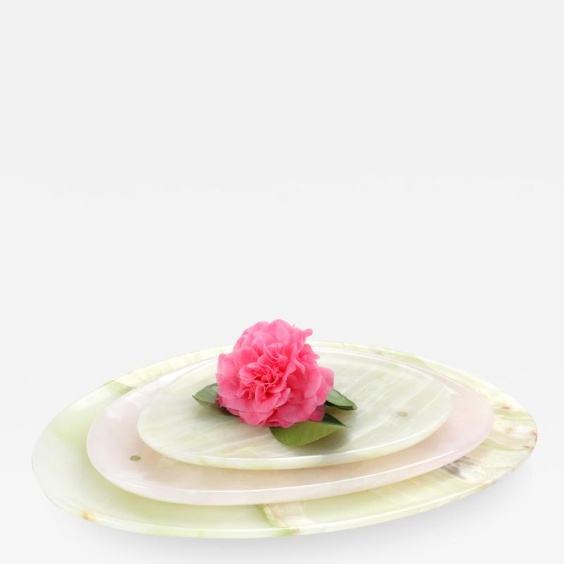 Pieruga Marble Set of Plates in Green and Pink Onyx hand carved in Italy