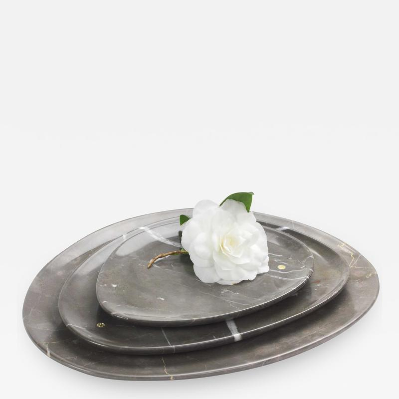 Pieruga Marble Set of Plates in Imperial Grey Marble hand carved in Italy