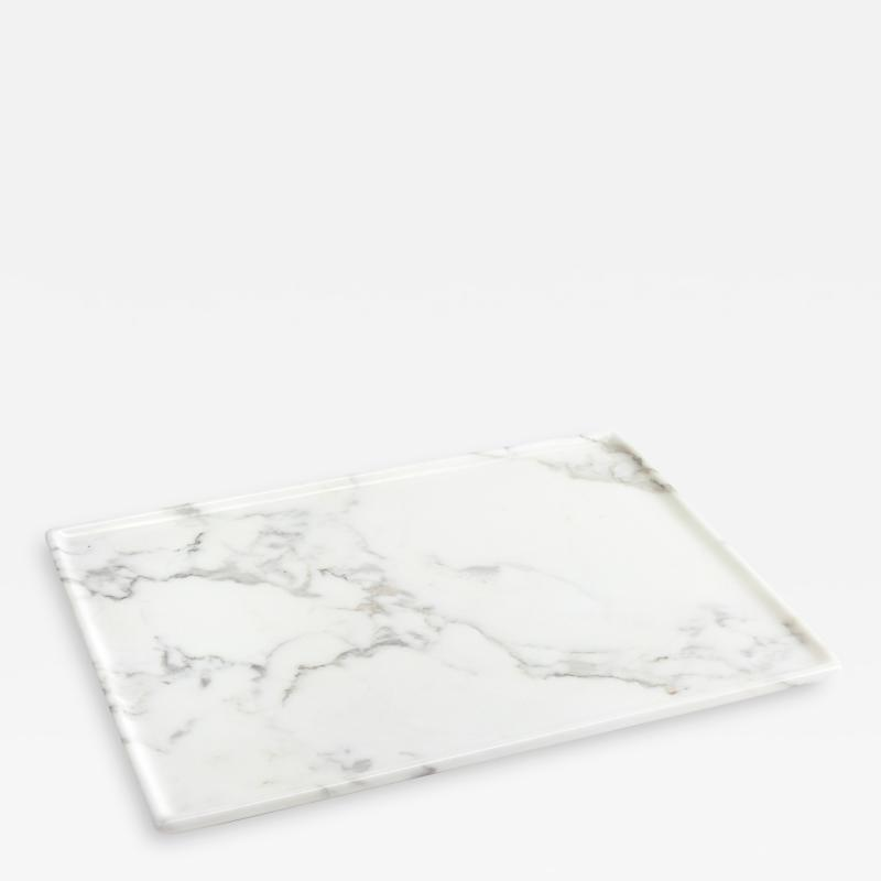 Pieruga Marble Tray Hand Carved From Solid block of White Marble Rectangular Made in Italy