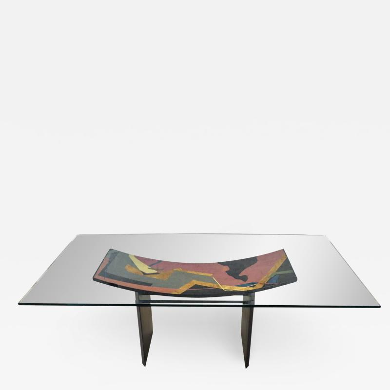 Pietro Costantini Dining table by pietro costantini black lacquer geometric inlay w glass top