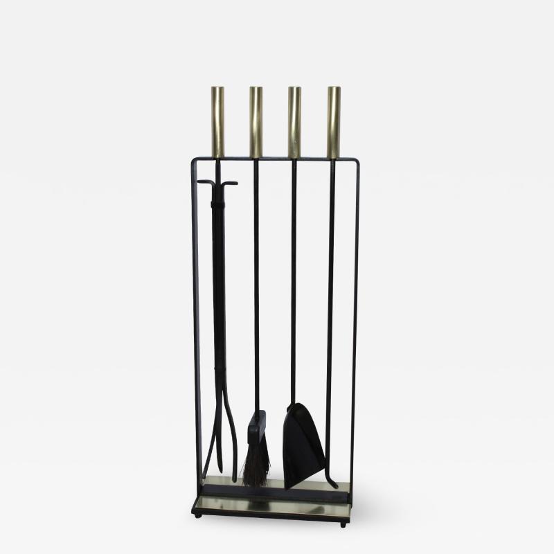 Pilgrim Manufacturing 1960s Modernist Brass Fireplace Tools By Pilgrim