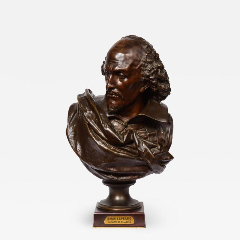 Pinedo Rare French Bronze Bust of William Shakespeare by Carrier Belleuse and Pinedo