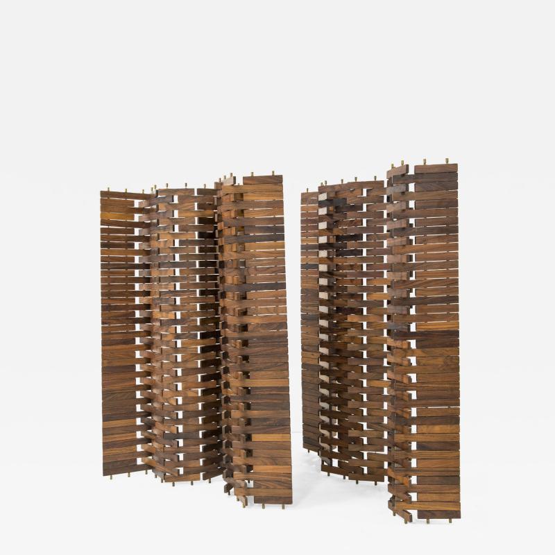 Poggi Paire of wood screen by Poggi circa 1960